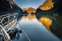 The Fiordland Navigator, cruises through the fiords at Doubtful Sound, Fiordland National Park, South Island, New Zealand - stock photo, canvas, fine art print