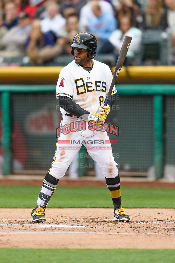 Eric Young Jr. (8) of the Salt Lake Bees at bat against the Sacramento River Cats in Pacific Coast League action at Smith's Ballpark on April 11, 2017 in Salt Lake City, Utah.  The River Cats defeated the Bees 8-7. (Stephen Smith/Four Seam Images)