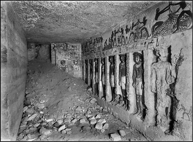 The people of the Ancient Empire...The sacred butcher, Iru-ka-Ptah (Vth dynasty) whose tomb lies side by side with that of Akhithotep, was discovered in 1942 by Abdessalam Hussein. The deceased had himself portrayed all of ten times. The painted stone statues represent this member of the clergy of Ptah, all powerful in Memphis, during a time in which royal influence had weakened.....TAIEB HASSABOLLAH/COLLECTION PATRICK CHAPUIS-PHILIPPE FLANDRIN