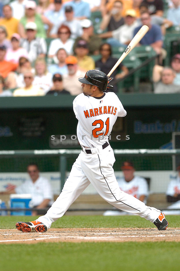 NICK MARKAKIS, of the Baltimore Orioles, in action during the  Orioles game against the Oakland A's in Baltimore Maryland on April 24, 2007...A's win 4-2...DAVID DUROCHIK / SPORTPICS..