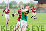 Duagh V Knocknagoshel : Knocknagoshel's Niall Barrett wins the ball despite the close attention of Duagh's Dinny Lane in their division 5 clash in Duagh on Saturday evening last.