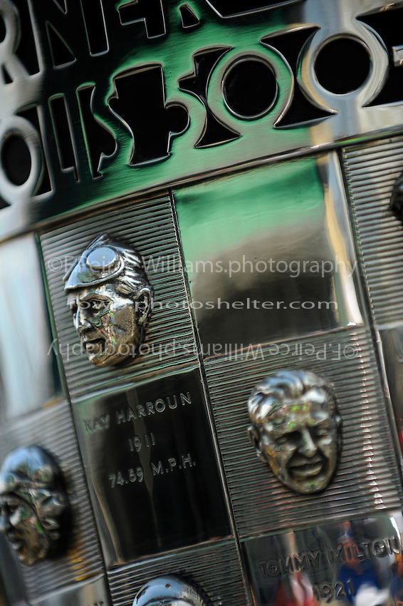 The likeness of 1911  Indianapolis 500 Winner Ray Harroun on the Borg-Warner Trophy.