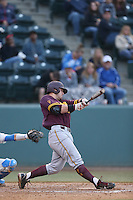 Nathaniel Causey  #11 of the Arizona State Sun Devils bats against the UCLA Bruins at Jackie Robinson Stadium on March 28, 2014 in Los Angeles, California. UCLA defeated Arizona State 7-3. (Larry Goren/Four Seam Images)