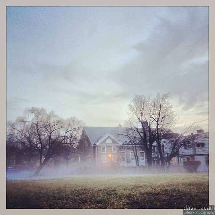 A think blanket of mist hovers over Holman Field in the Germantown section of Philadelphia on the morning of January 30, 2013.