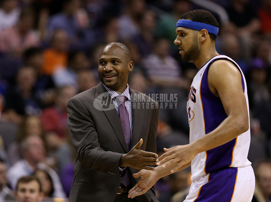 Jan. 24, 2013; Phoenix, AZ, USA: Phoenix Suns interim head coach Lindsey Hunter (left) with forward Jared Dudley against the Los Angeles Clippers at the US Airways Center. The Suns defeated the Clippers 93-88. Mandatory Credit: Mark J. Rebilas-USA TODAY Sports