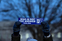 Demonstrators gather outside the United States Capitol in Washington D.C., U.S., on Thursday, January 9, 2020, to oppose a war with Iran, as the United States House of Representatives convene to vote on a war powers resolution that would mandate United States President Donald J. Trump receive congressional authorization for any future military action taken toward Iran.<br /> <br /> Credit: Stefani Reynolds / CNP/AdMedia
