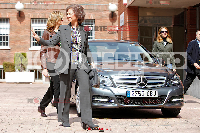 Queen Sofia of Spain, Elena of Spain and Cristina of Spain visit King Juan Carlos of Spain at La Milagrosa Hospital in Madrid, Spain. March 03, 2013. (ALTERPHOTOS/Caro Marin) /NortePhoto