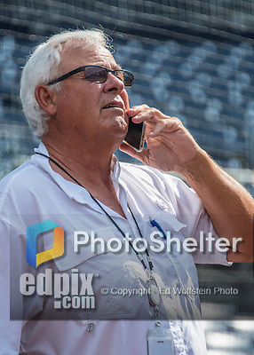 23 July 2016: Washington Nationals Vice President and Senior Advisor to the General Manager Bob Boone chats as he watches batting practice prior to a game against the San Diego Padres at Nationals Park in Washington, DC. The Nationals defeated the Padres 3-2 on a Stephen Drew pinch-hit, walk-off triple in the bottom of the 9th inning to tie their series at one game apiece. Mandatory Credit: Ed Wolfstein Photo *** RAW (NEF) Image File Available ***