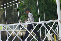 Straffin Co Kildare Ireland. K Club Ruder Cup...American Ryder Cup team member Tiger Woods crossing the footbridge to the on 16th green on the opening fourball session on the first day of the 2006 Ryder Cup, at the K Club in Straffan, Co Kildare, in the Republic of Ireland, 22 September 2006..Photo: Eoin Clarke/ Newsfile..