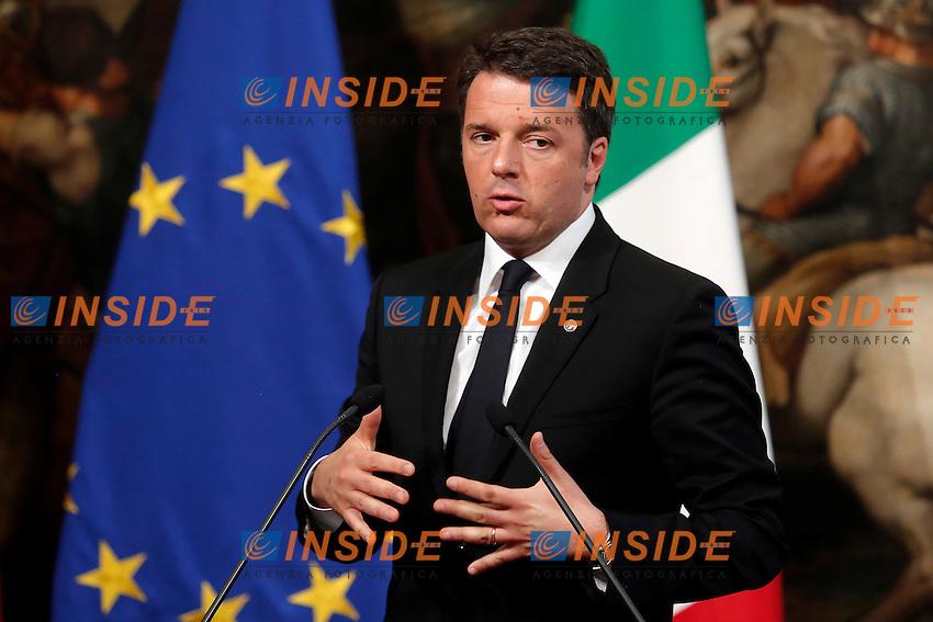 Matteo Renzi<br /> Roma 05-05-2016 Palazzo Chigi. Il Premier italiano incontra la Cancelliera tedesca.<br /> Italian premier meets the Deutch Cancellor.<br /> Photo Samantha Zucchi Insidefoto