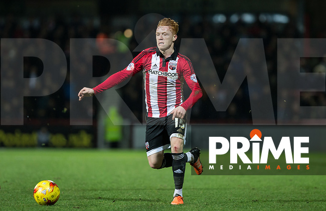 Ryan Woods of Brentford in action during the Sky Bet Championship match between Brentford and Leeds United at Griffin Park, London, England on 26 January 2016. Photo by Andy Rowland / PRiME Media Images.