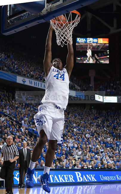 Center Dakari Johnson of the Kentucky Wildcats dunks the ball during the first half of the game against the Vanderbilt Commodores at Rupp Arena on January 20, 2015 in Lexington, Kentucky. Kentucky defeated Vanderbilt 65-57. Photo by Taylor Pence