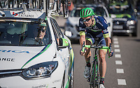 Luka Mezgec (SVN/ORICA-BikeExchange) checking in with DS Laurenzo Lapage mid-race<br /> <br /> 12th Eneco Tour 2016 (UCI World Tour)<br /> Stage 6: Riemst › Lanaken (185km)
