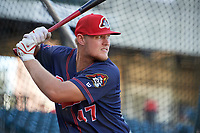 Peoria Chiefs Luken Baker (47) takes batting practice before a game against the Bowling Green Hot Rods on September 15, 2018 at Bowling Green Ballpark in Bowling Green, Kentucky.  Bowling Green defeated Peoria 6-1.  (Mike Janes/Four Seam Images)