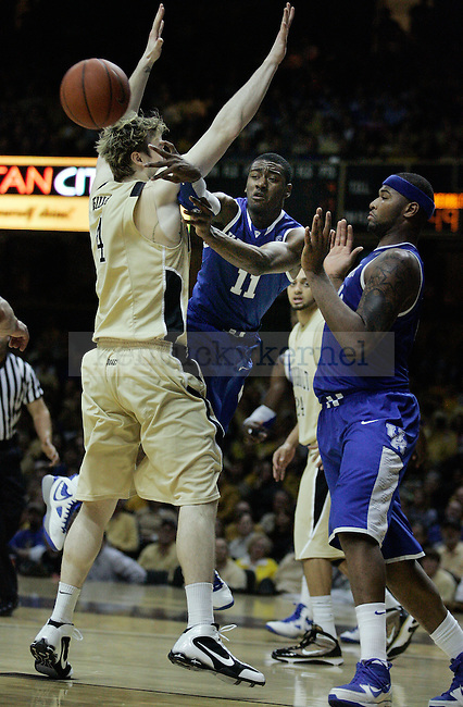 Freshman guard John Wall passes the ball in the second half of UK's 58-56 win over  Vandy at Memorial Gymnasium in Nashville on Saturday, Feb. 20. 2010. Photo by Britney McIntosh | Staff