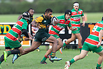 Peni Buakula gets the Waiuku defensive line turned  around as he makes a midfield run. Counties Manukau Premier Club rugby game between Pukekohe and Waiuku, played at Colin Lawrie Fields, Pukekohe on Saturday April 14th, 2018. Pukekohe won the game 35 - 19 after leading 9 - 7 at halftime.<br /> Pukekohe Mitre 10 Mega -Joshua Baverstock, Sione Fifita 3 tries, Cody White 3 conversions, Cody White 3 penalties.<br /> Waiuku Brian James Contracting - Lemeki Tulele, Nathan Millar, Tevta Halafihi tries,  Christian Walker 2 conversions.<br /> Photo by Richard Spranger