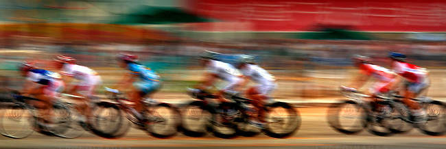 The start of the Women's Cycling race blurs by Tian'anmen Square in Beijing, China on Sunday, August 10, 2008.  Nicole Cooke of Great Britain took home the gold medal for the event. Kevin German