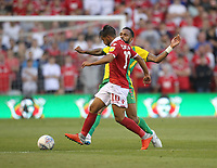 Nottingham Forest's Joao Carvalho battles with  West Bromwich Albion's Kyle Bartley<br /> <br /> Photographer Mick Walker/CameraSport<br /> <br /> The EFL Sky Bet Championship - Nottingham Forest v West Bromwich Albion - Tuesday August 7th 2018 - The City Ground - Nottingham<br /> <br /> World Copyright &copy; 2018 CameraSport. All rights reserved. 43 Linden Ave. Countesthorpe. Leicester. England. LE8 5PG - Tel: +44 (0) 116 277 4147 - admin@camerasport.com - www.camerasport.com
