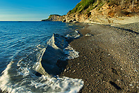 Limestone cliffs of Cap-Bon-Ami along the Gulf of St. Lawrence at sunrise. Appalachians&rsquo; northeasternmost tip in North America. <br />Forillon National Park<br />Quebec<br />Canada