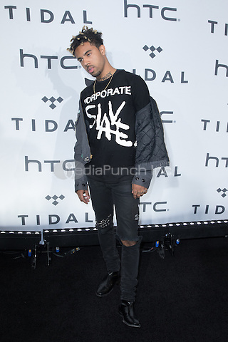 BROOKLYN, NY - OCTOBER 20: Vic Mensa on arrivals for TIDALx1020 Concert at Barclays Center in Brooklyn, NY on October 20, 2015. Credit: Abel Fermin/MediaPunch
