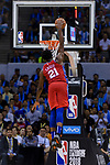 Joel Embiid of 76ers dunks during the NBA China Games 2018 match between Dallas Mavericks and Philadelphia 76ers at Universiade Center on October 08 2018 in Shenzhen, China. Photo by Marcio Rodrigo Machado / Power Sport Images