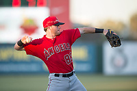 AZL Angels third baseman Justin Jones (88) warms up between innings of an Arizona League game against the AZL Diamondbacks at Tempe Diablo Stadium on June 27, 2018 in Tempe, Arizona. The AZL Angels defeated the AZL Diamondbacks 5-3. (Zachary Lucy/Four Seam Images)