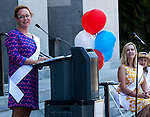 """A small crowd gathered at the State Capitol on Thursday, August 18, 2016 in Sacramento, California to celebrate the 96th anniversary of the ratification of the 19th Amendment to the United States Constitution granting women the right to vote.  Kate Van Buren, Mistress of Ceremony, introduced speakers, Gina Mulligan, author of """"Remember The Ladies"""", Angelique Ashby, Sacramento City Council, Nancy Compton, League of Women Voters, Katie McCleary, of 916 Ink and Rachel Michellin of CA Women Lead.  Singer-song writer Virginia Ayers Dawson began the event by singing the National Anthem and as a closing ceremony the group unfurled the banner for the Unity Banner For Hillary Project for a group photograph.  Katie McCleary, Executive Director of 916 Ink speaks to the audience.  Photo/Victoria Sheridan 2016"""