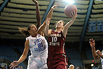31 January 2013: Florida State's Leonor Rodriguez (ESP) (10) and North Carolina's Krista Gross (21). The University of North Carolina Tar Heels played the Florida State University Seminoles at Carmichael Arena in Chapel Hill, North Carolina in an NCAA Division I Women's Basketball game. UNC won the game 72-62.