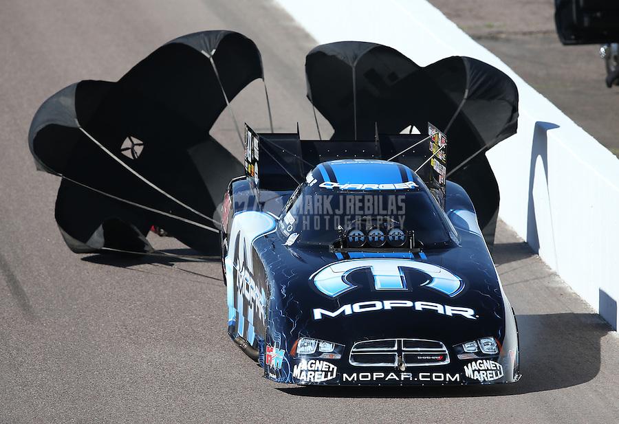 Feb. 23, 2013; Chandler, AZ, USA; NHRA funny car driver Matt Hagan during qualifying for the Arizona Nationals at Firebird International Raceway. Mandatory Credit: Mark J. Rebilas-
