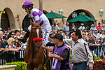 DEL MAR, CA  SEPTEMBER 3: #10 Bizwhacks, ridden by Mario Gutierrez,gets a leg up from assistant trainer Leandro Mora, in the paddock of the Del Mar Juvenile Fillies Turf on September 3, 2018, at Del Mar Thoroughbred Club in Del Mar, CA. (Photo by Casey Phillips/Eclipse Sportswire/Getty Images)