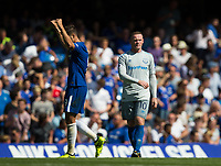 Everton's Wayne Rooney looks dejected as Chelsea's Alvaro Morata celebrates scoring his sides second goal       <br /> <br /> <br /> Photographer Craig Mercer/CameraSport<br /> <br /> The Premier League - Chelsea v Everton - Sunday 27th August 2017 - Stamford Bridge - London<br /> <br /> World Copyright &copy; 2017 CameraSport. All rights reserved. 43 Linden Ave. Countesthorpe. Leicester. England. LE8 5PG - Tel: +44 (0) 116 277 4147 - admin@camerasport.com - www.camerasport.com