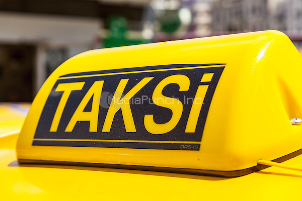 Taksi sign on a taxi, Istanbul, Turkey  May 2015.<br /> CAP/MEL<br /> &copy;MEL/Capital Pictures /MediaPunch ***NORTH AND SOUTH AMERICA ONLY***
