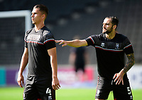 Lincoln City's Lewis Montsma, left, and Adam Jackson during the pre-match warm-up<br /> <br /> Photographer Chris Vaughan/CameraSport<br /> <br /> The EFL Sky Bet League One - Milton Keynes Dons v Lincoln City - Saturday 19th September 2020 - Stadium MK - Milton Keynes<br /> <br /> World Copyright © 2020 CameraSport. All rights reserved. 43 Linden Ave. Countesthorpe. Leicester. England. LE8 5PG - Tel: +44 (0) 116 277 4147 - admin@camerasport.com - www.camerasport.com