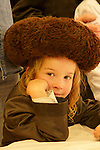 Israel, Bnei Brak. Purim feast at the Premishlan congregation, a young Hassid, 2005<br />