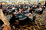 A view of the World Cup of Poker tournament area at the start of round 3.
