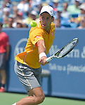 Novak Djokovic (SRB) defeated David Goffin (BEL) 6-4, 2-6, 6-3 at the Western and Southern Open in Mason, OH on August 20, 2015.