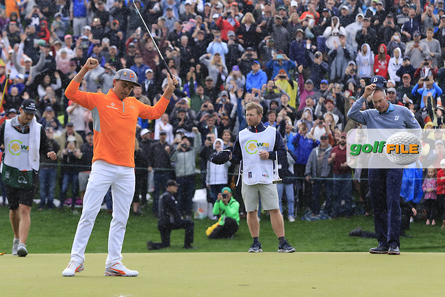 Rickie Fowler (USA) lines up the putt for the win on 18th during the final round of the Waste Management Phoenix Open, TPC Scottsdale, Scottsdale, Arisona, USA. 03/02/2019.<br /> Picture Fran Caffrey / Golffile.ie<br /> <br /> All photo usage must carry mandatory copyright credit (&copy; Golffile   Fran Caffrey)