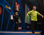 01.01.2014.  London, England.  William Hill PDC World Darts Championship.  Quarter Final Round.  Michael van Gerwen (1) [NED] celebrates a 170 finish to win the match against Robert Thornton (9) [SCO]. Michael van Gerwen won the match 5-2