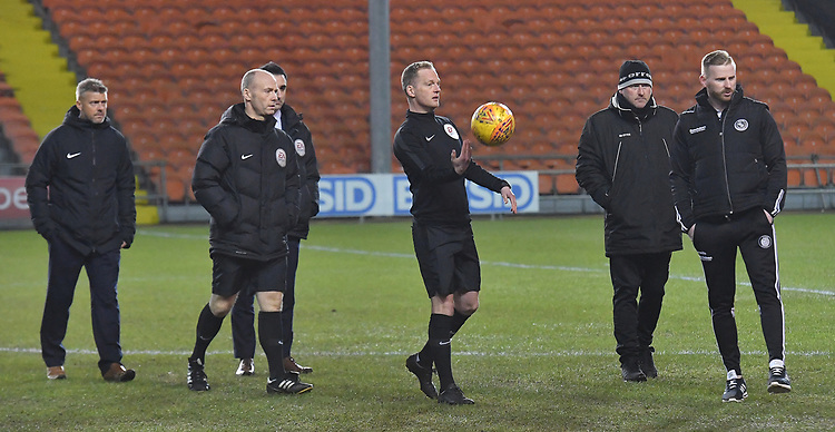 Referee Martin Coy has a 5.30 pm pitch inspection<br /> <br /> Photographer Dave Howarth/CameraSport<br /> <br /> The EFL Sky Bet League One - Blackpool v Wycombe Wanderers - Tuesday 29th January 2019 - Bloomfield Road - Blackpool<br /> <br /> World Copyright © 2019 CameraSport. All rights reserved. 43 Linden Ave. Countesthorpe. Leicester. England. LE8 5PG - Tel: +44 (0) 116 277 4147 - admin@camerasport.com - www.camerasport.com