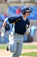 Myrtle Beach Pelicans outfielder Royce Bolinger (7) runs to first during a game against the Wilmington Blue Rocks on April 27, 2014 at Frawley Stadium in Wilmington, Delaware.  Myrtle Beach defeated Wilmington 5-2.  (Mike Janes/Four Seam Images)