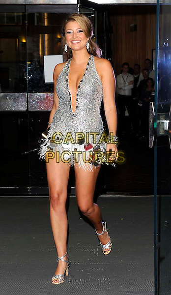 Holly Valance.'Strictly Come Dancing' Launch Event at BBC Studios, London, England..September 7th 2011.full length silver dress  white tassels fringed plunging neckline sequins sequined studs studded .CAP/FIN.©Steve Finn/Capital Pictures.