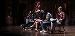 """Lauren Boyd, Anthony Lee Medina, Terrance Spencer, Gabriella Sorrentino, Deon'te Goodman and Kyle Weiler during the eduHAM Q & A before The Rockefeller Foundation and The Gilder Lehrman Institute of American History sponsored High School student #EduHam matinee performance of """"Hamilton"""" at the Richard Rodgers Theatre on October 30, 2019 in New York City."""