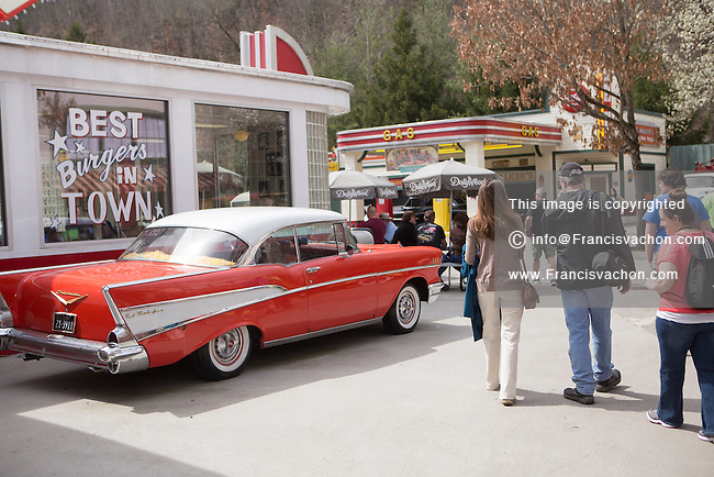 The Jukebox junction area is pictured in Dollywood theme park in Pigeon Forge, Tennessee Friday March 21, 2014. Located in the Knoxville-Smoky Mountains metroplex, Dollywood is a theme park owned by entertainer Dolly Parton and Herschend Family Entertainment.