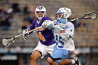 Baltimore, MD - April 5: Attackmen Zach Palmer #45 of the John Hopkins Blue Jays fires at the cage during the Albany v Johns Hopkins mens lacrosse game at  Homewood Field on April 5, 2012 in Baltimore, MD. (Ryan Lasek/Eclipse Sportwire)