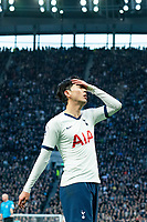 Tottenham Hotspur's Son Heung-Min reacts after missing a chance <br /> <br /> Photographer Stephanie Meek/CameraSport<br /> <br /> The Premier League - Tottenham Hotspur v Bournemouth - Saturday 30th November 2019 - Tottenham Hotspur Stadium - London<br /> <br /> World Copyright © 2019 CameraSport. All rights reserved. 43 Linden Ave. Countesthorpe. Leicester. England. LE8 5PG - Tel: +44 (0) 116 277 4147 - admin@camerasport.com - www.camerasport.com