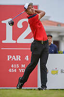Cheng JIN (CHN) watches his tee shot on 12 during Rd 4 of the Asia-Pacific Amateur Championship, Sentosa Golf Club, Singapore. 10/7/2018.<br /> Picture: Golffile | Ken Murray<br /> <br /> <br /> All photo usage must carry mandatory copyright credit (&copy; Golffile | Ken Murray)