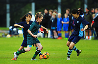 Action from the AIMS games girls' football match between Northcross and St Cuthberts at Blake Park in Mount Maunganui, New Zealand on Thursday, 14 September 2017. Photo: Dave Lintott / lintottphoto.co.nz