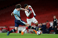 Tom Williams of Blackpool tackles Arsenal's Trae Coyle during Arsenal Youth vs Blackpool Youth, FA Youth Cup Football at the Emirates Stadium on 16th April 2018
