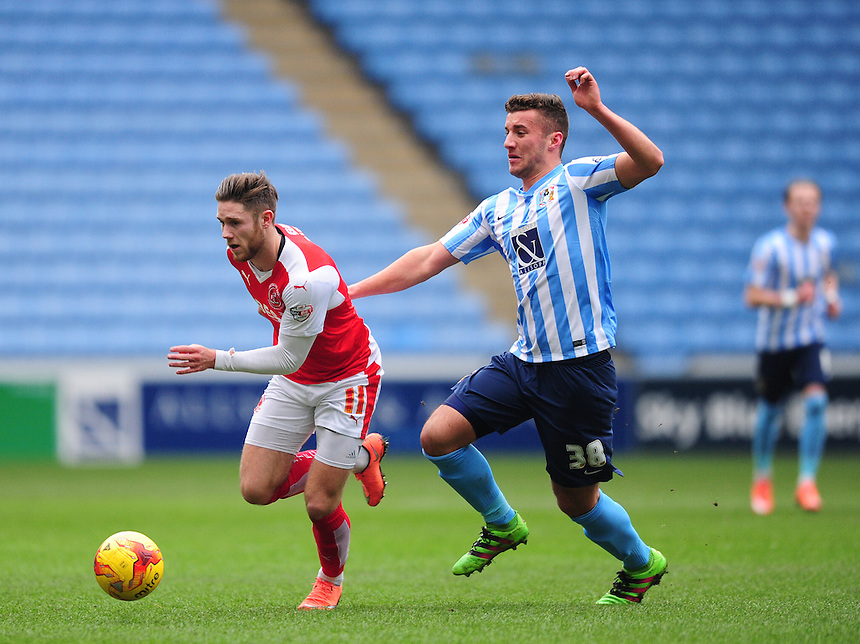 Fleetwood Town&rsquo;s Wes Burns looks to get away from Coventry City&rsquo;s Baily Cargill<br /> <br /> Photographer Chris Vaughan/CameraSport<br /> <br /> Football - The Football League Sky Bet League One - Coventry City v Fleetwood Town - Saturday 27th February 2016 - Ricoh Stadium - Coventry   <br /> <br /> &copy; CameraSport - 43 Linden Ave. Countesthorpe. Leicester. England. LE8 5PG - Tel: +44 (0) 116 277 4147 - admin@camerasport.com - www.camerasport.com