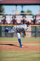 Surprise Saguaros relief pitcher Arnaldo Hernandez (37), of the Kansas City Royals organization, follows through on his delivery during an Arizona Fall League game against the Scottsdale Scorpions at Scottsdale Stadium on October 26, 2018 in Scottsdale, Arizona. Surprise defeated Scottsdale 3-1. (Zachary Lucy/Four Seam Images)
